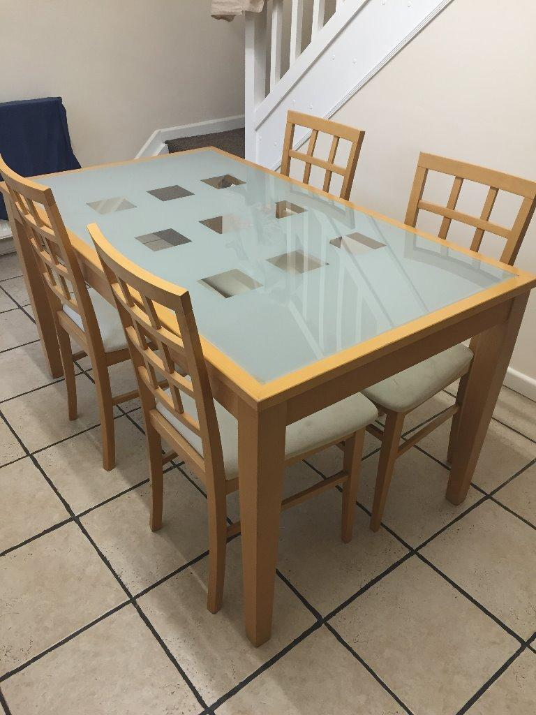 Dining Room Table and Chairs  Beech with glass design