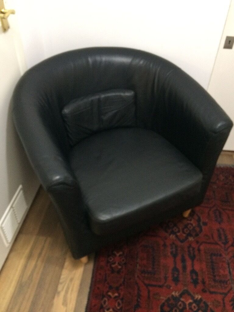 Ikea Tullsta Black Leather Armchair with spare cover