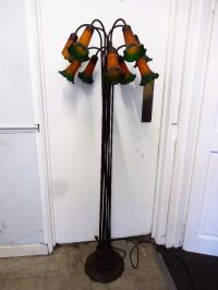 Vintage Meyda Tiffany style pond lily flower floor lamp