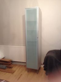 Ikea Tall Bathroom Storage Cabinet. White with opaque ...