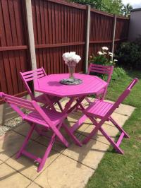 High quality rare funky pink garden furniture set. Solid ...