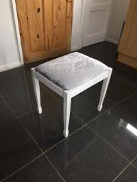 Silver crushed velvet dressing table Bedroom stool chair ...