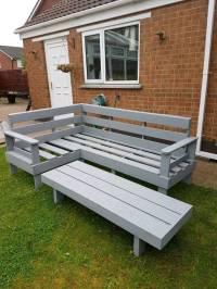 Wooden corner sofa. Wood garden/ outdoor furniture. Wooden ...