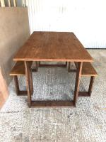 Country rustic dining kitchen table home with benches   in ...