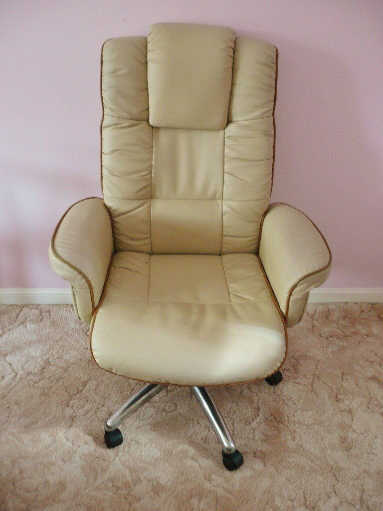 revolving chair gumtree small bedroom uk cream soft leather faced office home luxurious executive seat extra high back head pillow