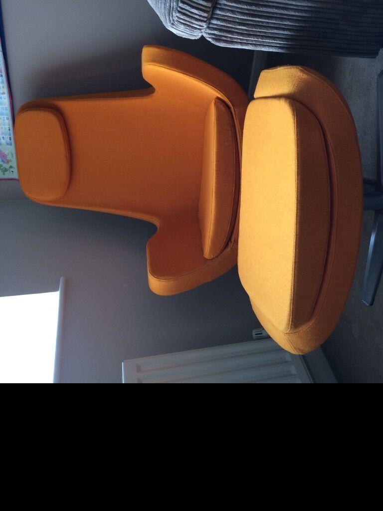 IKEA Arvika Swivel Chair And Foot Stool In Retro Orange
