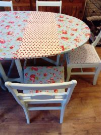 Upcycled shabby chic table & chairs. Cath Kidston fabric