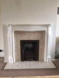 Fireplace surround, marble, cream and white (mantelpiece ...