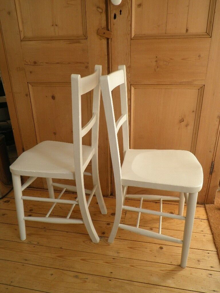 vintage kitchen chairs lowes appliances two painted off white beech elm wood in