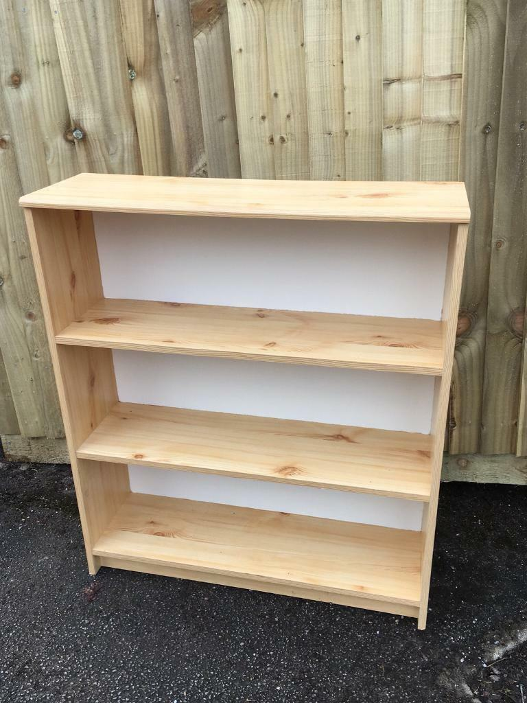 Wooden Pine Effect Bookcase Solid Bookshelf With Painted Back Shabby Chic Upcycle In Sheffield South Yorkshire Gumtree