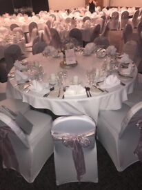 chair covers hire in wolverhampton unfinished wooden chairs canada wedding lycra with coloured sash for fitted sashes package