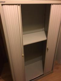 Bisley Tambour Storage Filing Cabinet Cupboard, Sliding