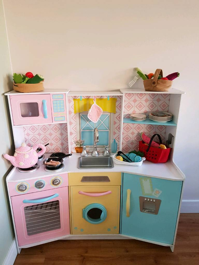 wooden toy kitchen antiqued cabinets beautiful with accessories in wickford essex