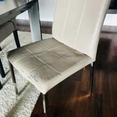 Dining Chairs With Stainless Steel Legs Countertop Table And Set Of 4 Ivory Leather Seats