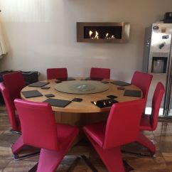 Large Round Oak Dining Table 8 Chairs Chair And Half Rocker Recliner In Duddingston
