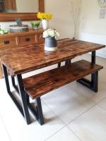 Rustic dining table and two benches   in Moira, County ...