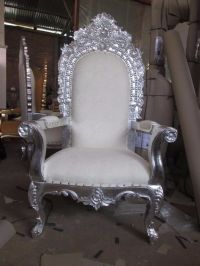 2x NEW King Queen Throne Chairs - Silver Leaf - Asian ...