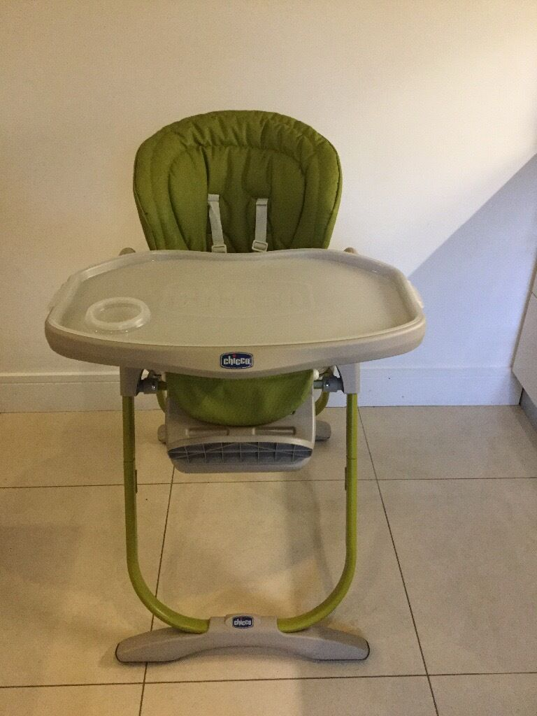 green high chair posture on immaculate condition lime chicco polly magic in
