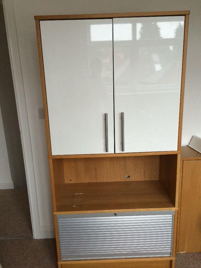 IKEA Effektiv oak bookcase cupboard for office with roll
