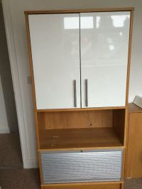 IKEA Effektiv oak bookcase cupboard for office with roll ...