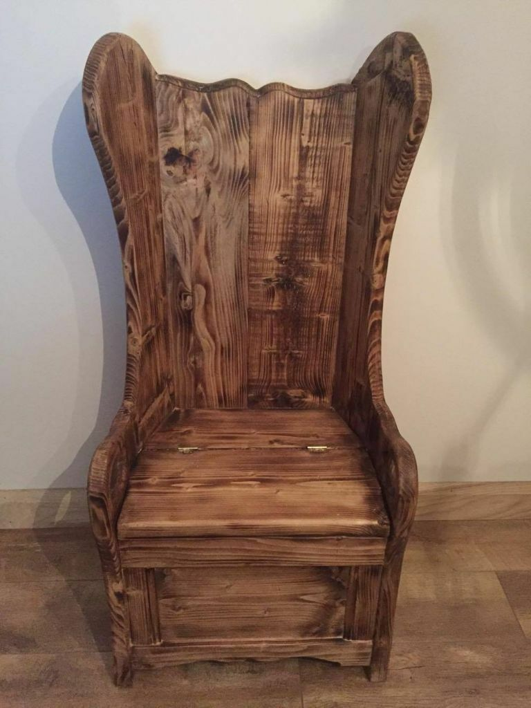 SOLID WOOD OAK WING BACK SEAT CHAIR WINGBACK WOODEN SHABBY