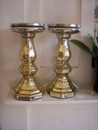 Pair gold mercury glass pillar candle holders ...