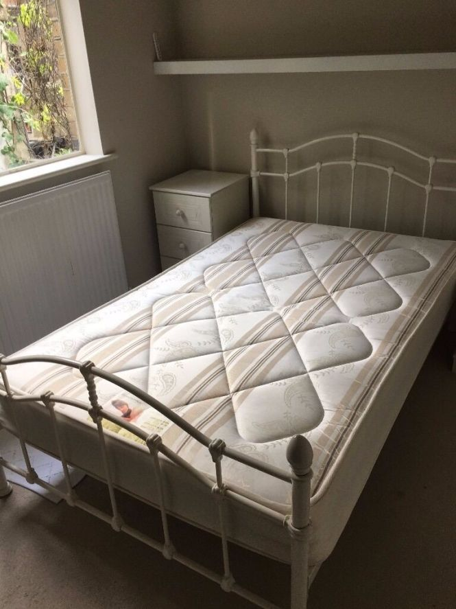 Bed Double Iron Frame With Orthopaedic Mattress David Phillips Good Condition Free Local Delivery