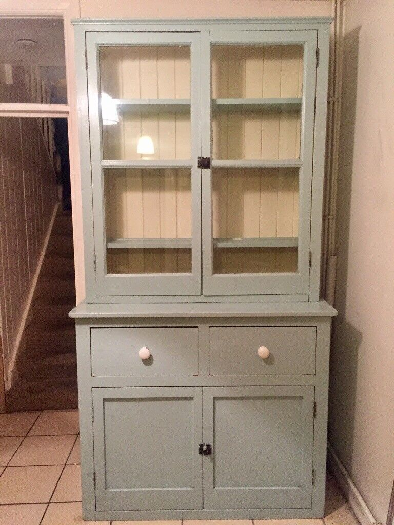 kitchen dresser table with storage cabinets shabby chic french cabinet duck egg blue in