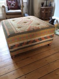 Kilim Aztec fabric footstool pouffe ottoman coffee table ...