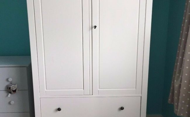 Ikea Hemnes White Wardrobe With Drawers Cupboard Bedroom