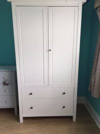 IKEA HEMNES WHITE WARDROBE WITH DRAWERS CUPBOARD BEDROOM ...