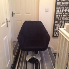 Chair Revolving Steel Base With Wheels Desk Booster Cushion Velvet Silver Metal In Kirkdale