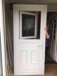 UPVC Stable Door with frosted opening window/top door