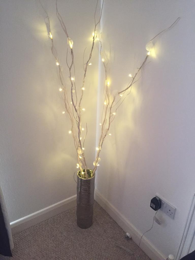 next cream twig lights silver coloured vase