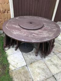 Australian Kwila wood outdoor round table,Lazy Susan & 5 ...