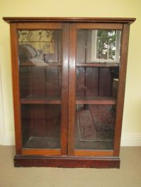 Antique Vintage Glass Fronted Two Door Wooden Curio ...