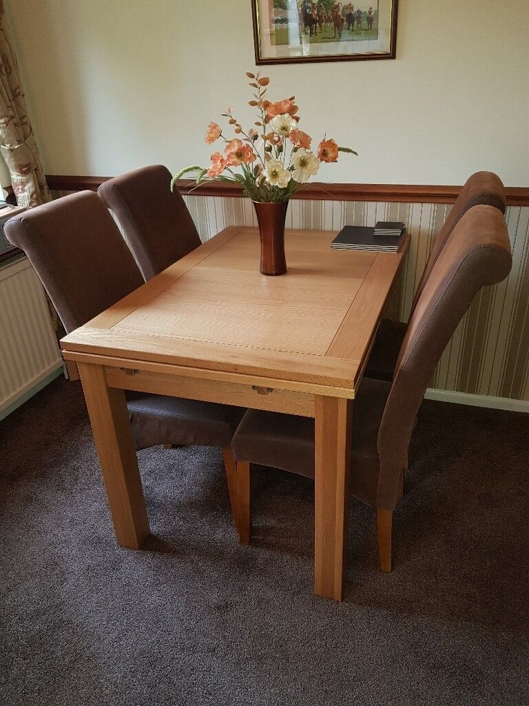 suede dining table chairs orange parsons chair 4 x faux room brown and oak legs in taverham
