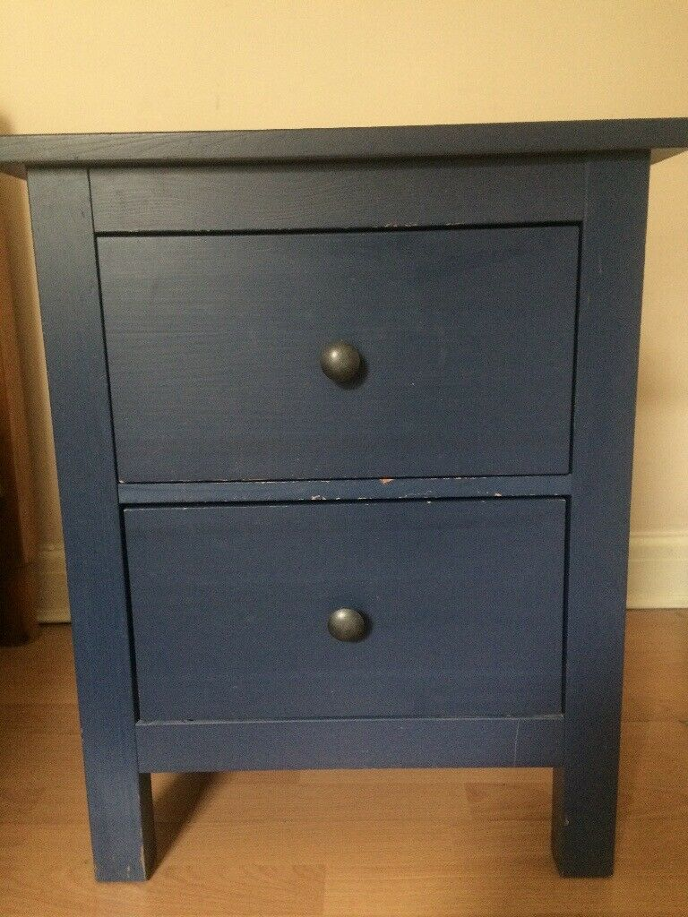 Ikea Dark Blue Wooden Bedside Table In Hackney London Gumtree