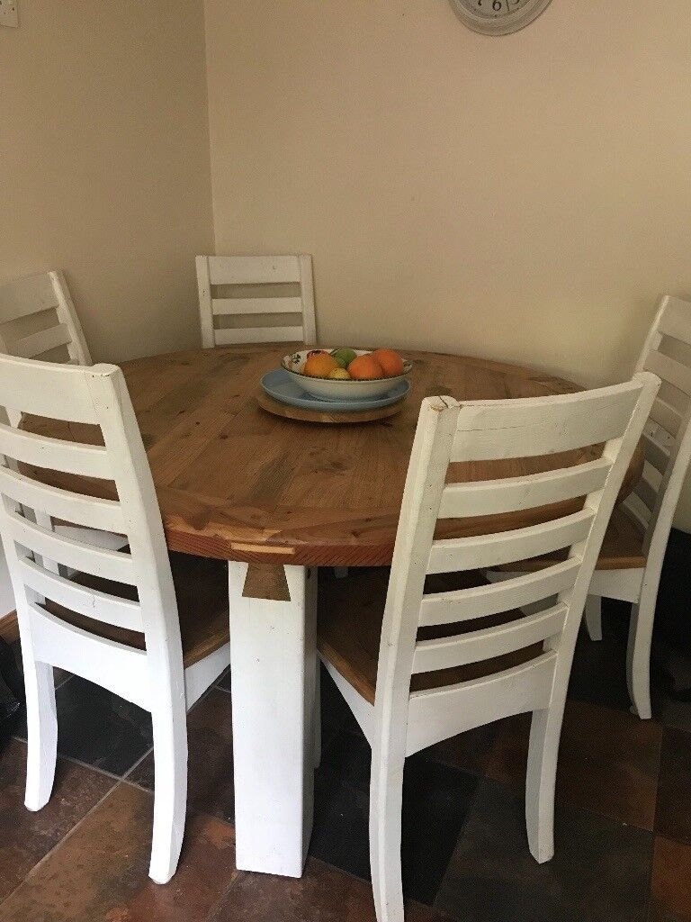 round kitchen table for 6 faucet water filter dining set rustic solid wood chairs in dromore