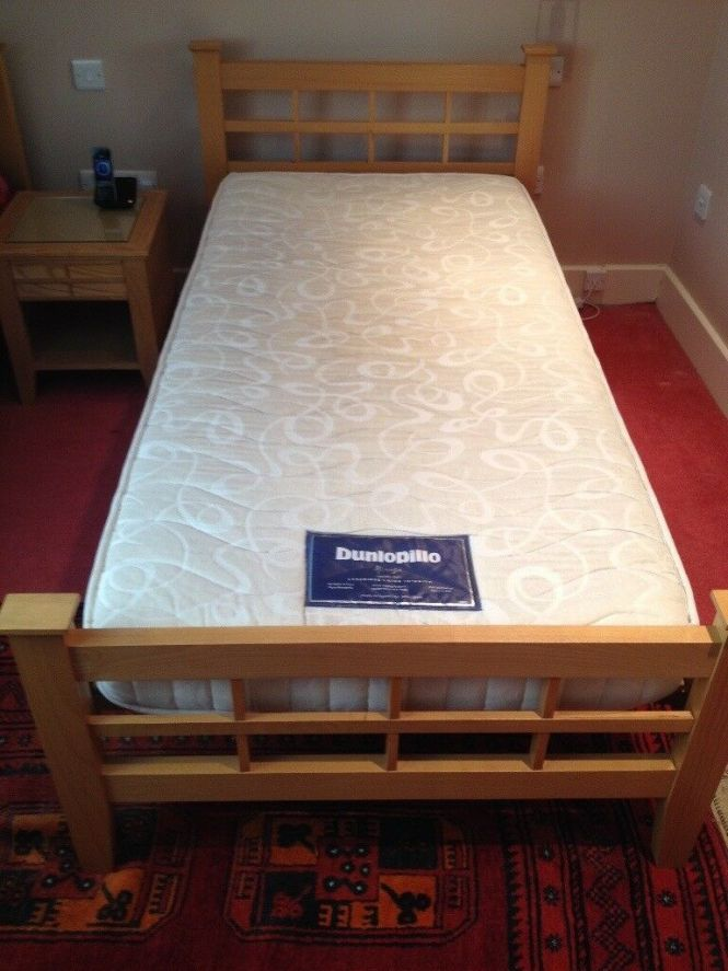 Pair Of John Lewis Single Beds Solid Wood Bed Frames With Dunlopillo Mirage Mattresses