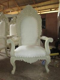 2x NEW King Queen Throne Chairs - Ivory White - Asian ...
