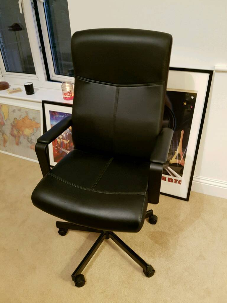 desk chair back support extreme rocker gaming ikea malkolm black in excellent condition | newcastle, tyne and wear gumtree