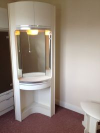 Corner white dressing table unit with storage cupboard ...