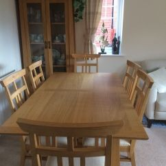 Oak Kitchen Tables Nightmare Before Christmas Large Family Extending Dining Table And 6 Matching Chairs In