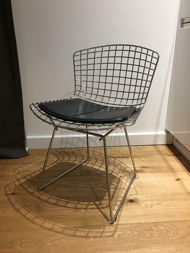 bertoia wire chair original handicap lift genuine harry side by knoll with seat pad