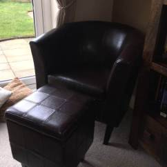 Brown Leather Tub Chair With Footstool Hon Office Guest Chairs Faux And Matching Blanket Box Storage Sofa Unit
