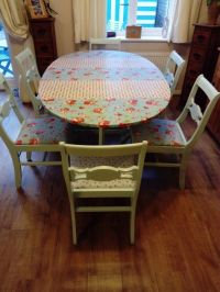 Shabby Chic, Dining table & 6 chairs. Cath Kidston fabric