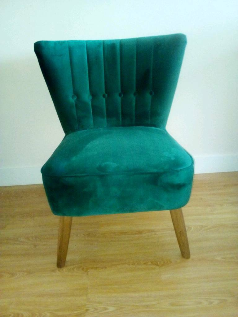 used recliner chairs outdoor rocker chair dunelm emerald isla velvet fabric cocktail new,scalloped and button back. | in stockport ...