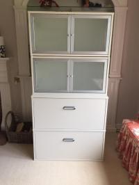 Ikea Effektiv filing cabinet with storage cabinets above ...