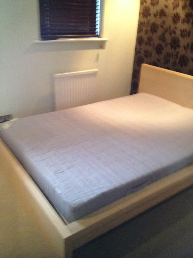 Ikea Malm Double Bed Frame Mattress With Sultan Huglo Topper Bargain